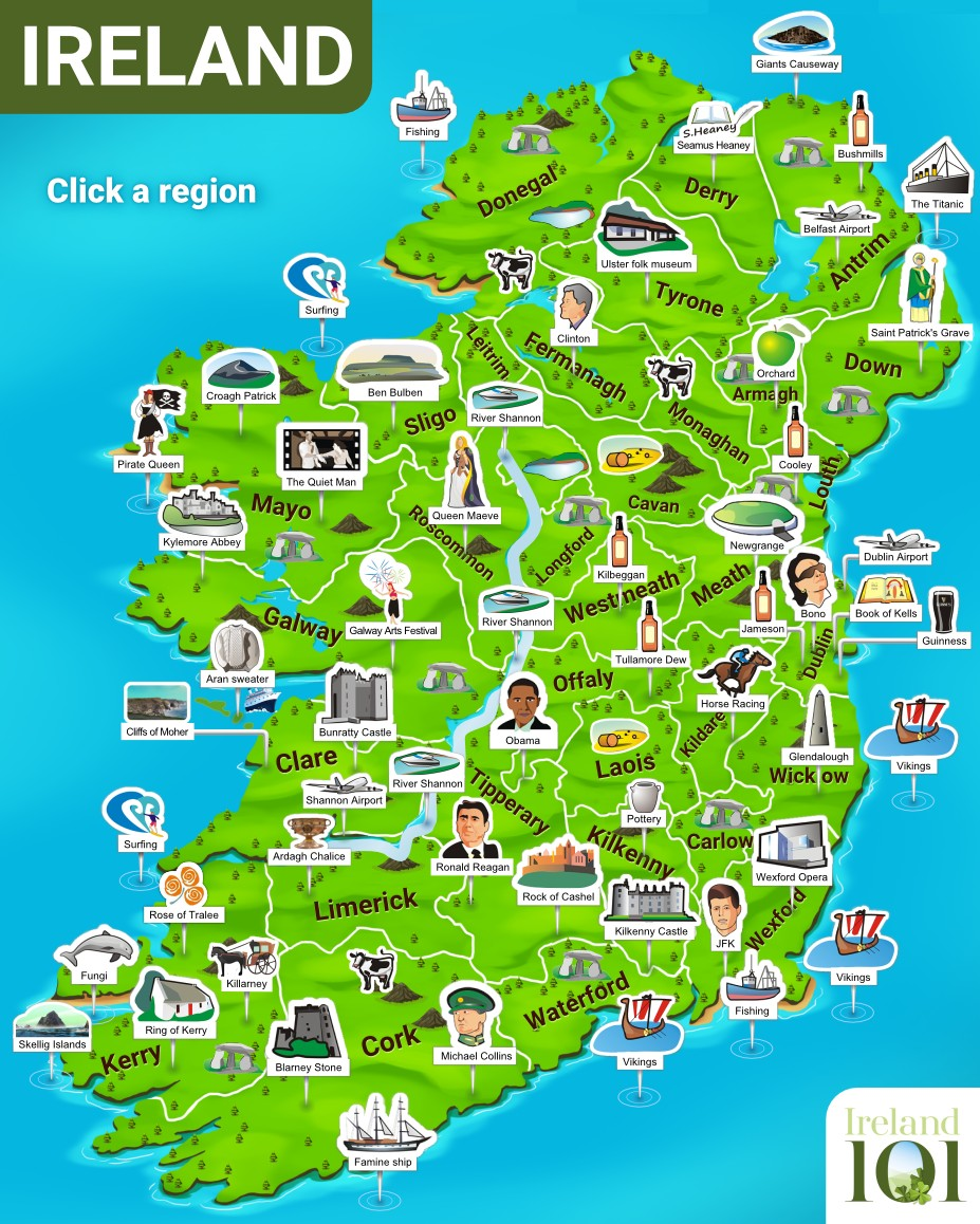 Map With Counties Of Ireland.Explore Our Interactive Map Of Ireland Ireland 101