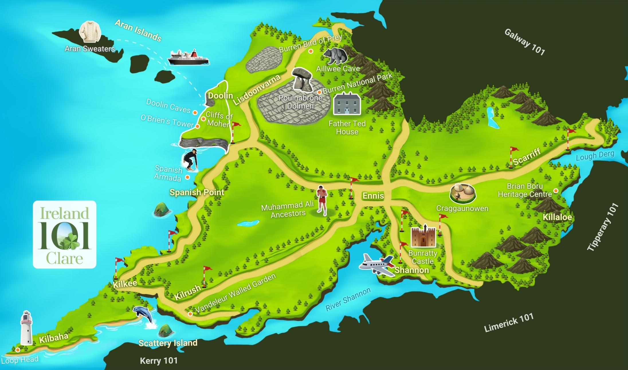 Map Of The Burren Ireland.Counties Of Ireland Clare Ireland