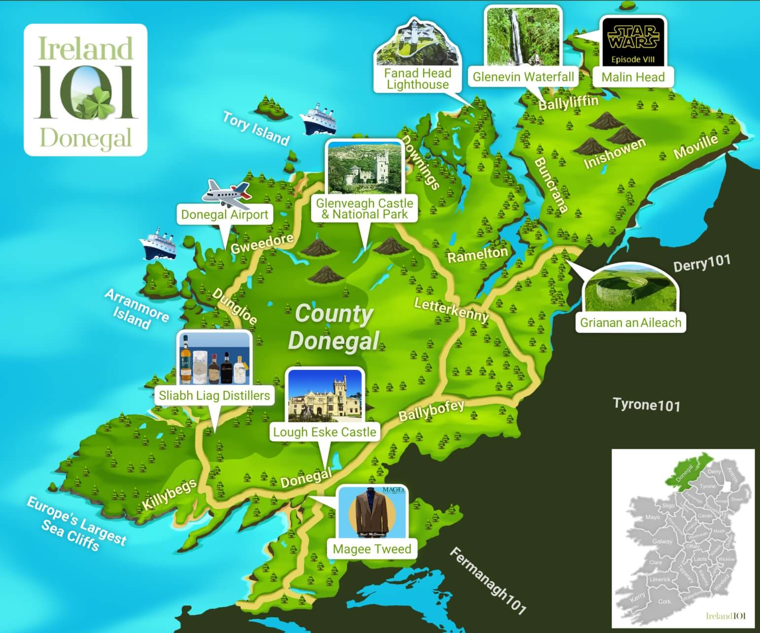 Donegal Map Of Ireland.Counties Of Ireland Donegal Ireland