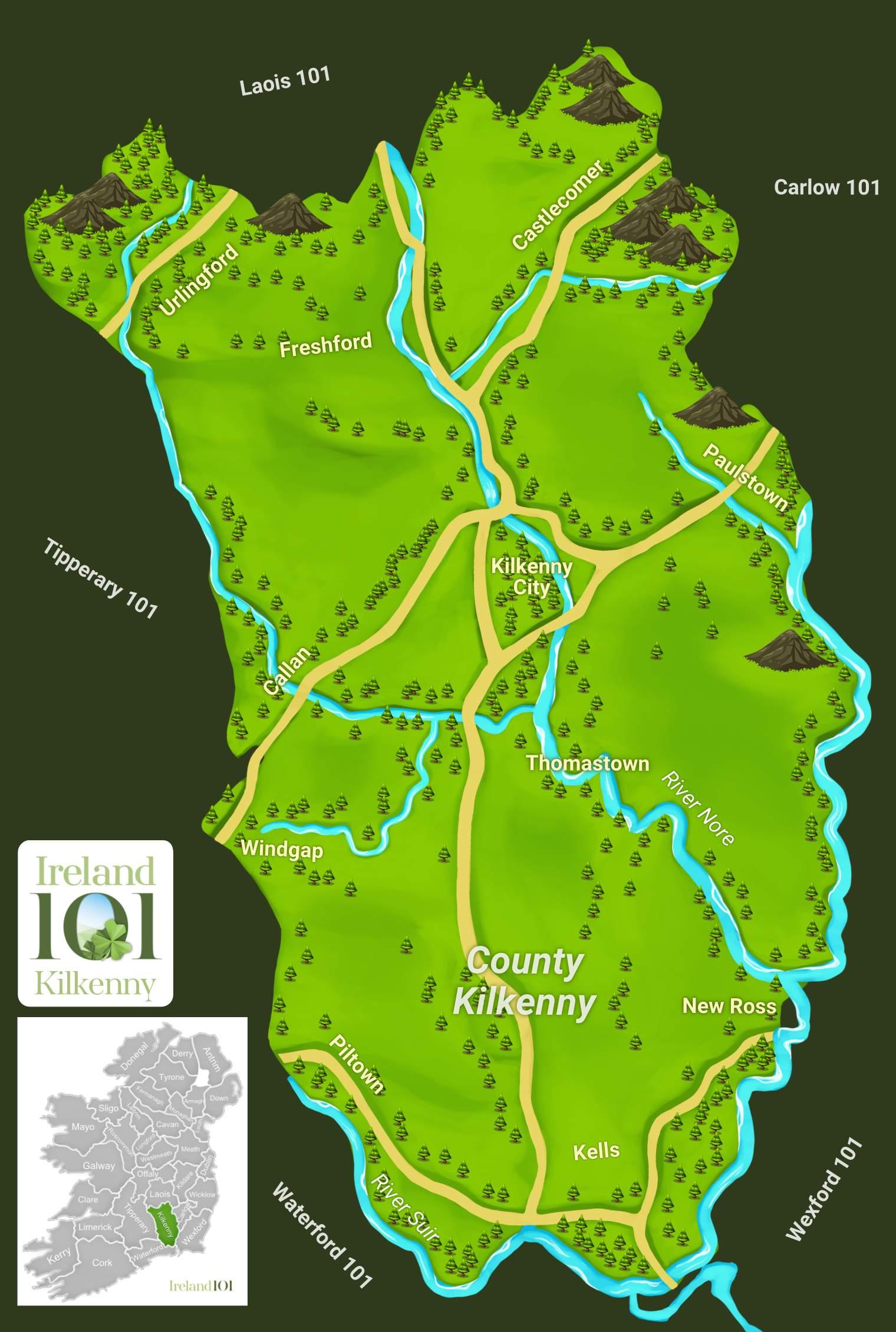 Map Of Ireland Showing Kilkenny.Counties Of Ireland Kilkenny Ireland