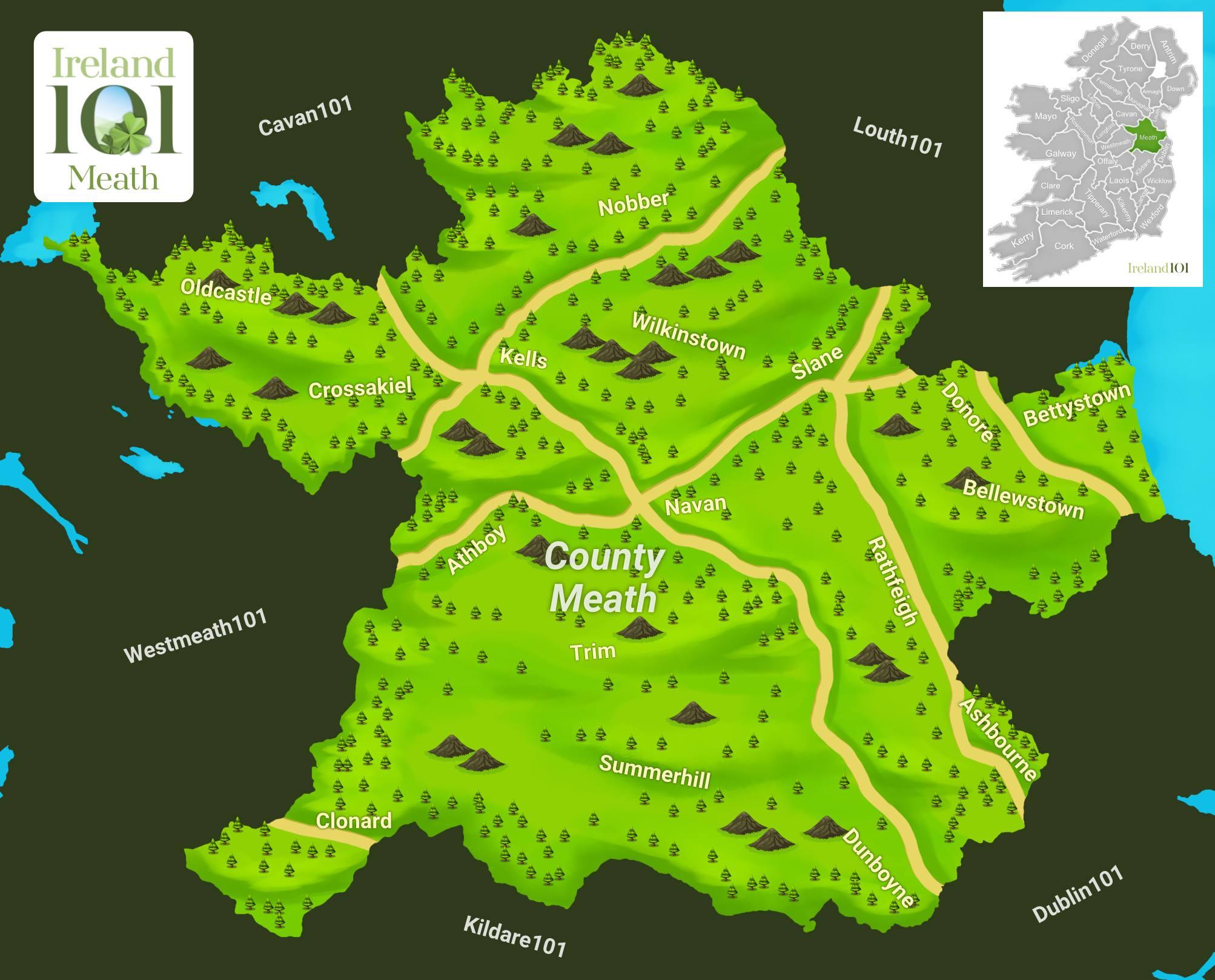 Map Of Ireland Newgrange.Counties Of Ireland Meath Ireland