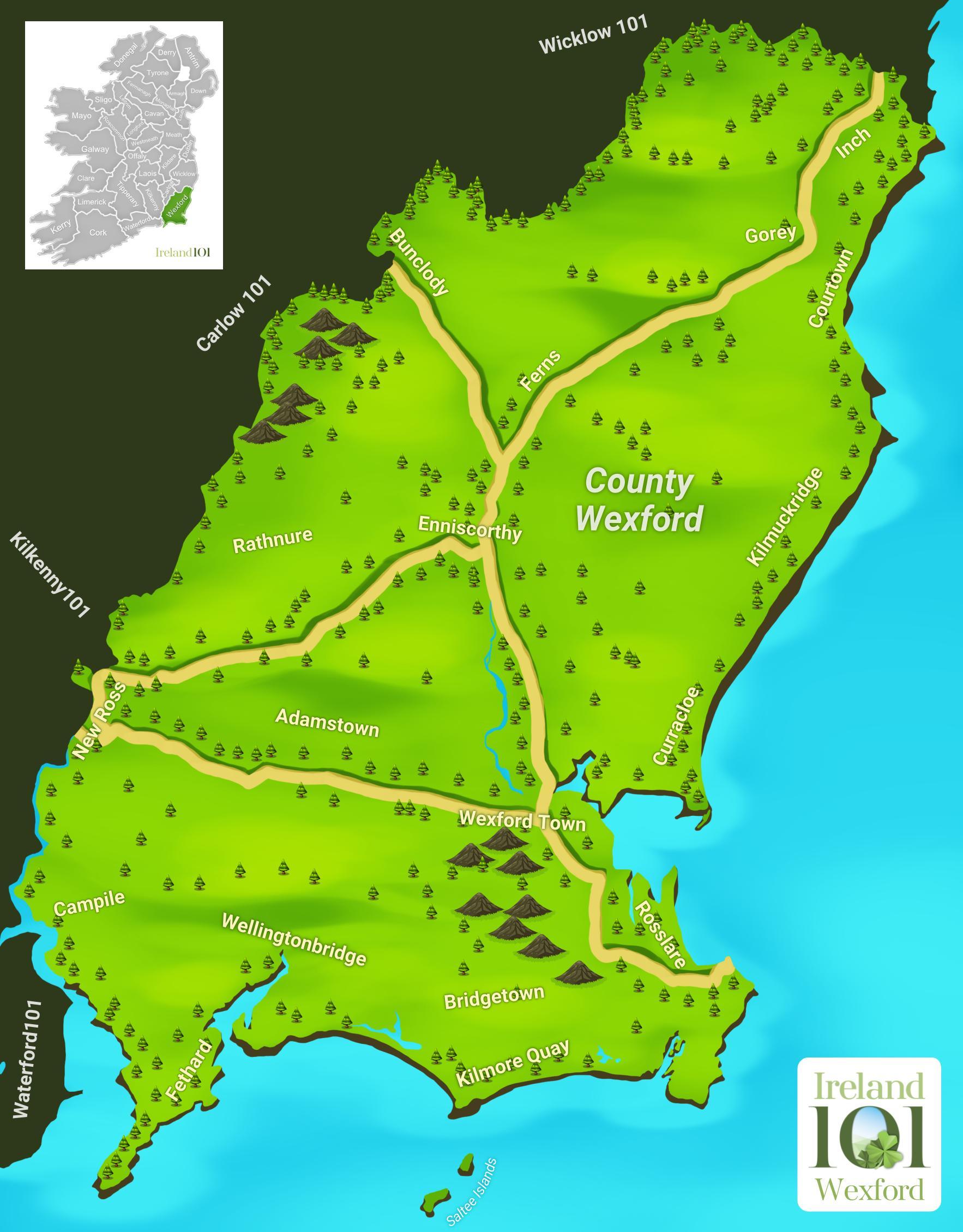 Map Of Wexford County Ireland.Counties Of Ireland Wexford Ireland
