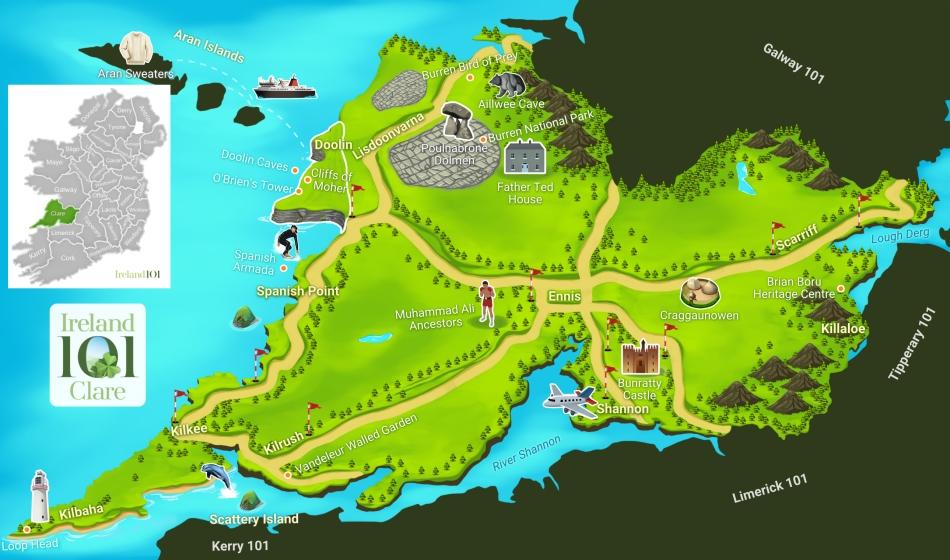 Counties Of Ireland Clare: County Clare Ireland Map At Slyspyder.com